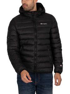 Champion Herren Wattierte Jacke mit Logo, Schwarz M