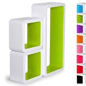 WOLTU Wandregal Cube Regal 3er Set Würfelregal Hängeregal, weiß-grün