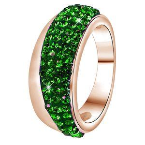Rotvergoldeter Stahlring mit Smaragd-Kristall -  53
