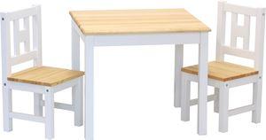 ib style® LUCA Kindersitzgruppe Kindertisch Kindermöbel Tischset Tisch+ 2 Stühle Weiß-Natur