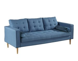 SIT Möbel Sofa 3-Sitzer | inkl. Kissen | Bezug Leinen-Optik blau | Beine Birke natur | B 205 x T 80 x H 92 cm | 06040-13 | Serie SIT4SOFA