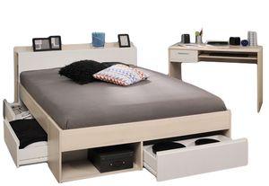 Jugendzimmer Most 2-tlg Akazie beige / weiß inkl Funktionsbett 140*200 cm + Schreibtisch B 109 cm T 59 cm Komplett Schlaf Jugendzimmer