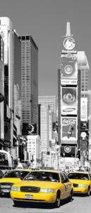 Türtapete New York Times Square, Schwarz-weiß Gelb