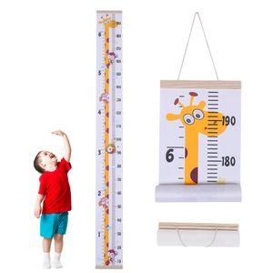 Messlatte Kinder Höhe Wachstum Diagramm Aufrollbare Aufhängen Messlatte Lineal Abnehmbar Leinwand Baby Messtabelle für Kinderzimmer Schlafzimmer Wanddekoration (Giraffe)