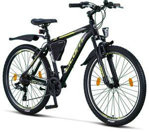 Licorne Bike Effect Premium Mountainbike - Fahrrad für Jungen, Mädchen, Herren und Damen - Shimano 21 Gang-Schaltung - Herrenrad, Farbe:Schwarz/Lime, Zoll:26