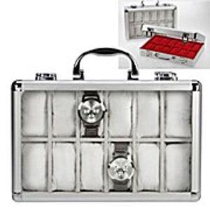 Uhrenkoffer Aluminium Velours weiß