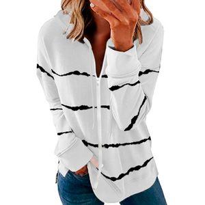 Damen Hoodie gestreifter durchgehender Reißverschluss Langarm Leichtes Sweatshirt Jackenmantel Größe:XXL,Farbe:Weiß