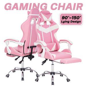 Bürostuhl Drehstuhl Schreibtischstuhl Gaming-Stuhl 150 Grad liegend mit Fußstütze Bürosessel Pink Ergonomisch gestaltet
