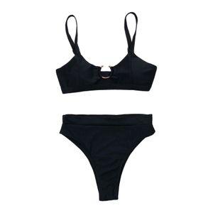 Damen Bikini Set Zwei Stücke Badeanzug mit Hoher Taille Bottom Brasilianische Bademode Party Badeanzug Beachwear, Einfach & Sexy Black_S
