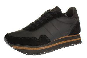 Woden Damen Sneaker  Leder-/Textilkombination schwarz 38