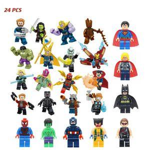 24 Stück Mini Figuren Set Superhelden Spiderman Batman Hulk Marvel Avengers Superhelden Thors Spiderman Avengers Minifigure