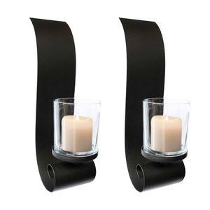 LEX 2er Set Wandkerzenhalter mit Glaskerzenhalter schwarz