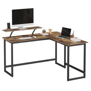 VASAGLE Computertisch mit beweglichem Monitoraufsatz 140 x 130 x 76 cm platzsparend einfache Montage Vintage dunkelbraun Vintage LWD56X