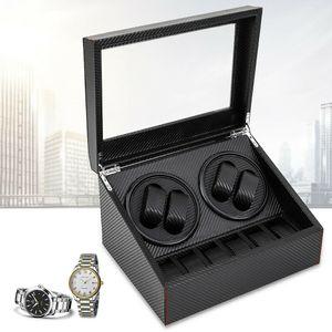 4+6 Automatisch Uhrenbeweger Uhrenboxen Ballaststoff  Sammeln Schaukasten Watch Winder Box (Schwarz)