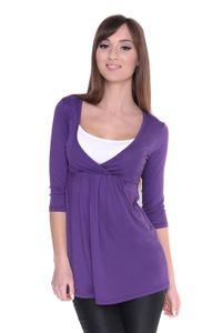 Longshirt weit geschnitten + MAMA Umstandsmode  , Violett M/L 38/40