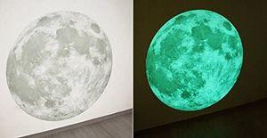 GKA XL phosphoreszierender Mond Wandaufkleber 25 cm nachtleuchtend Wandtattoo Wandbild keine Angst im Dunkeln