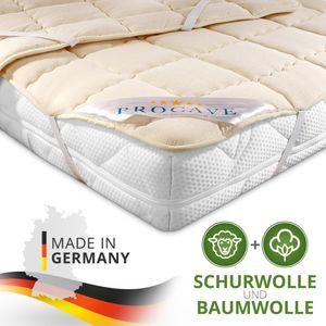 PROCAVE Schurwolle Unterbett in verschiedenen Größen - Matratzenauflage 90x200 cm mit 4 Eckgummis als Matratzenschoner - Soft-Matratzen-Topper