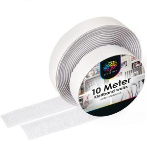 OfficeTree Klettband weiß selbstklebend - 10 Meter lang ca. 20 mm breit
