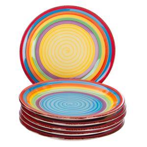 6er Set Kuchenteller Ibiza bunt Dessertteller kleiner Teller Geschirr