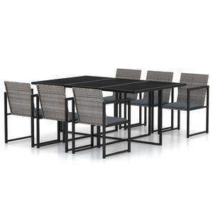 Gartenmöbel Essgruppe 6 Personen ,7-TLG. Terrassenmöbel Balkonset Sitzgruppe: Tisch mit 6 Stühle, mit Kissen Poly Rattan Grau❀7190