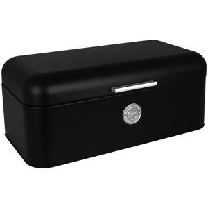 Brotkasten Bistro schwarz mit Klappdeckel und Griff Brotbox Metall Brotbehälter Brotkiste Brot Aufbewahrungsbehälter
