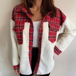 Mode Frauen Revers Plaid Patchwork Warme Jacken Knöpfe Cardigan Plüsch Mantel Größe:XL,Farbe:Rot