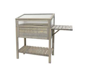 Westmann Holz Hochbeet 118x39x107 cm Anzuchtbeet grau inkl. Abdeckung und Abstellfläche