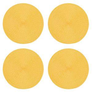 Tischset 4er Set Honig rund 35 cm Ø Platzset abwaschbar Platzdeckchen geflochtene Optik