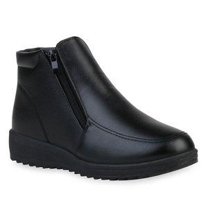 Mytrendshoe Damen Stiefeletten Warm Gefütterte Winter Boots Keilabsatz Schuhe 835654, Farbe: Schwarz, Größe: 39