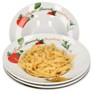 4er Pastateller-Set Milano Aufdruck Ø27cm Porzellan-Teller Gastro Nudeln Pasta Gnocchi Spaghetti
