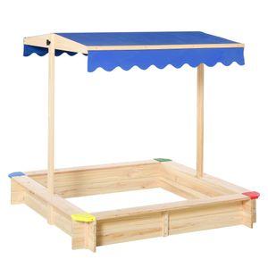 Outsunny Sandkasten Sandkiste Zedernholz Bodenloses Design mit absenkbarem und schwenkbarem Dach Kurbeldach 120 x 120 x 120 cm Natur