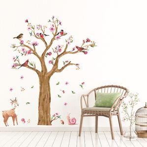 große Größe niedlichen Schnecken Hirsch Baum Wandaufkleber für Kinderzimmer Schlafzimmer Wohnzimmer Kindergarten Hintergrund Aufkleber Kunst Wandbild DC18