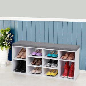 VASAGLE Schuhregal mit Sitzkissen, für 10 paar Schuhe, 104 x 48 x 30 cm, aus Holz, Schuhbank, Schuhschrank, weiß LHS10WT