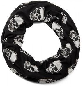 styleBREAKER Loop Schlauchschal mit aufgesetztem Totenkopf Muster, Skull Applikation, Unisex 01018081, Farbe:Schwarz