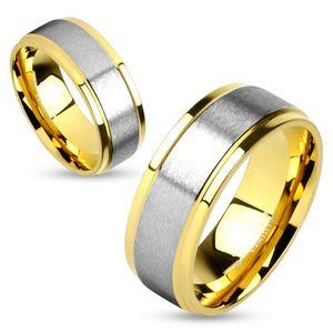 Damen Herren Ring Trauring Partnerring Ehering Zweifarbig Edelstahl rosegold-silber 67 - Ø 21,39 mm 8 mm