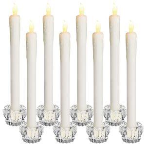 Monzana 8x LED Kerzen Stabkerzen mit Kerzenständern Glas flackernd batteriebetrieben Echtwachs Tafelkerzen Warmweiß