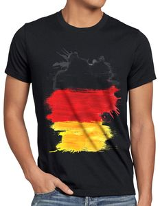 style3 Flagge Deutschland Herren T-Shirt Fußball Sport Germany WM EM Fahne, Größe:XL, Farbe:Schwarz