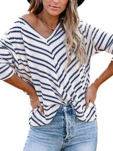 Damen Pullover Pulli Strickpullover Langarm Sweatshirt Casual Warm Sweater Tops,Farbe: Blau,Größe:XL