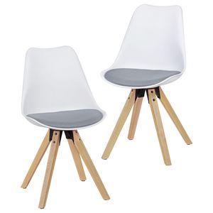 WOHNLING 2er Set Retro Esszimmerstuhl LIMA weiß/grau | Polsterstuhl Skandinavisch Rückenlehne | Küchenstuhl Stoff gepolstert