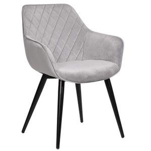 WOLTU Esszimmerstühle BH153gr-1 1 x Küchenstuhl Wohnzimmerstuhl Polsterstuhl mit Armlehen Design Stuhl Samt Metall Grau