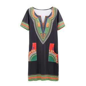 Damen Bankett Kurzarm Kleid Slim Printed Dress,Farbe: Grün,Größe:XXL