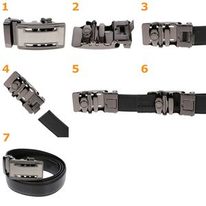 Herrengürtel Automatik Koppel Gürtel Jeansgürtel Leder Schwarz  Anzug 105 cm