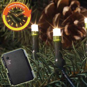 FHS LED-Batterie-Kette außen 160er warmweiß mit Timer für 3 x AA ***NEU***