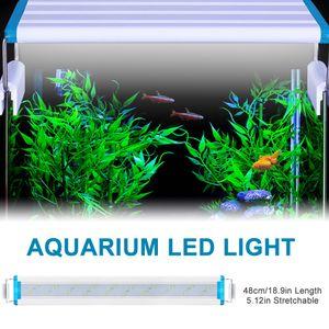 Aquarium LED-Licht 48 cm Aquarium Licht 5,12 Zoll ausziehbare Halterungen Weiss Blau LEDs fuer Tanks mit Suesswasserbepflanzung