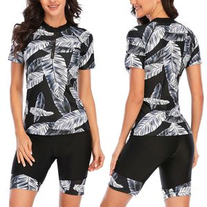 Sexydance Frauen Kurzarm Badeanzug Zweiteiliger Rash Guard UV-Schutz Badebekleidung,Farbe:Schwarz,Größe:L