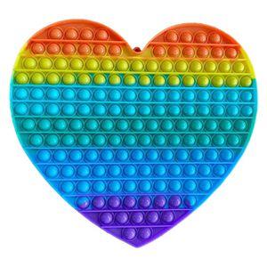 Große Regenbogenfarben Push Pop It Pop Bubble Spielzeug,Verwendet für Autismus, Stress Abzubauen Braucht zappeln Spielzeug(Herzförmig)