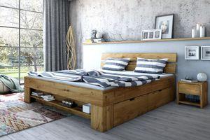 Futonbett Bett Wildeiche Massiv geölt 140x200cm inkl. 4 Bettkästen, Fußteilregal