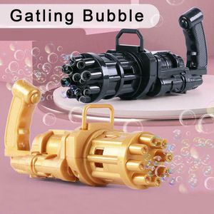 2 Stück Gatling bubble machine, 8-Loch-Seifenblasenmaschinen mit großer Kapazität, Automatische seifenblasenpistole, Seifenblasenpistole elektrisch, Kinder sommerliche Outdoor-Aktivitäten, Schwarz und Gold
