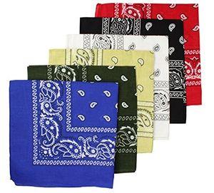 BOOLAVARD 100 % Baumwolle 1pcs, 6pcs oder 12pcs packen Bandanas mit Original Paisley Muster Farbe Wahl Kopfbedeckung / Haare (6 Pack Bandana   CL4)