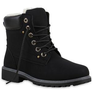 Mytrendshoe Warm Gefütterte Damen Stiefeletten Nieten Worker Boots 812104, Farbe: Schwarz, Größe: 38
